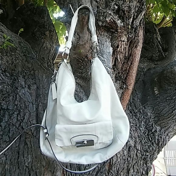 White all leather coach White Coach Bags Crossbody Bags