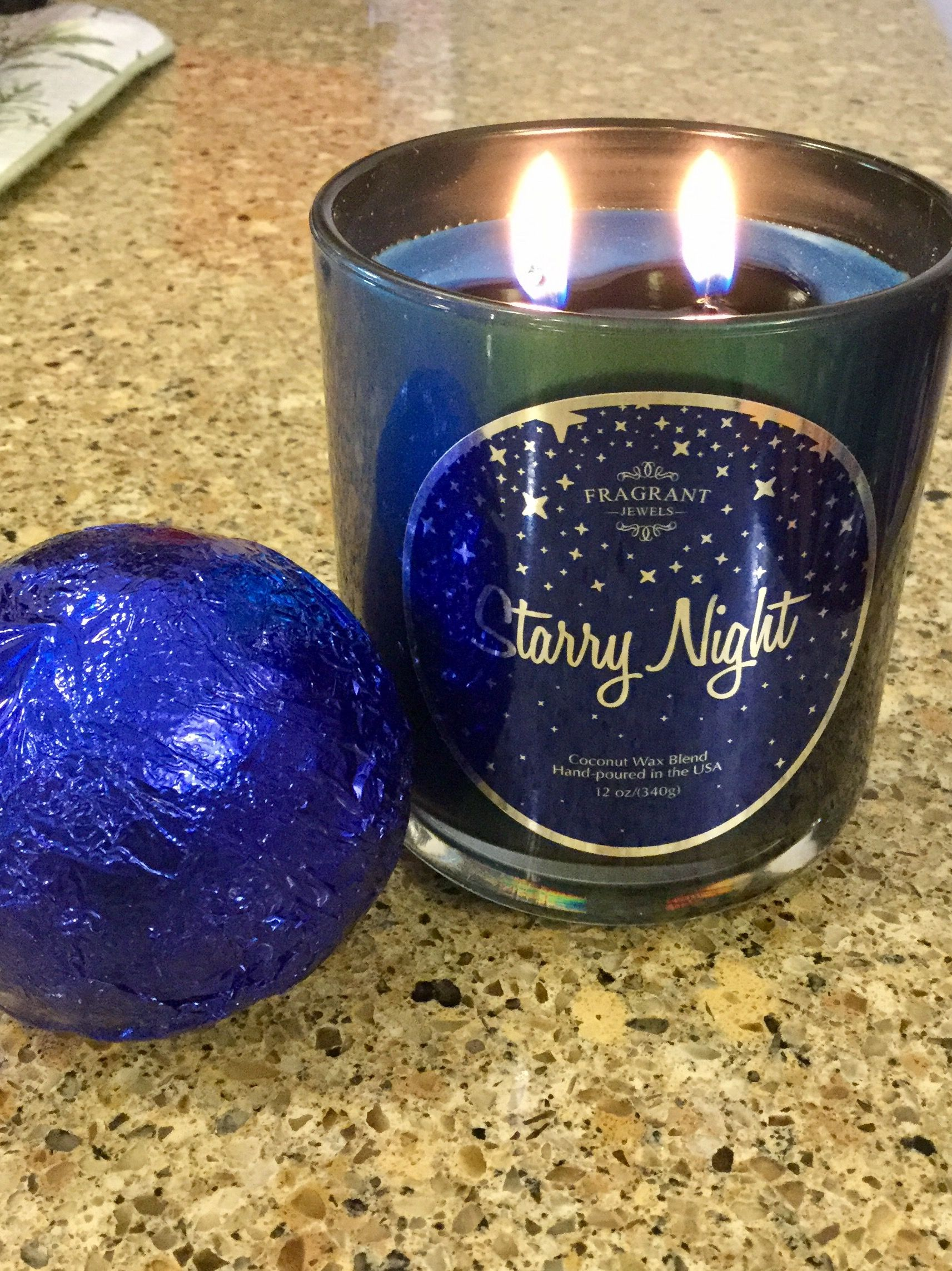 Starry Night Candle And Bath Bomb Set With Blue Opal Rings