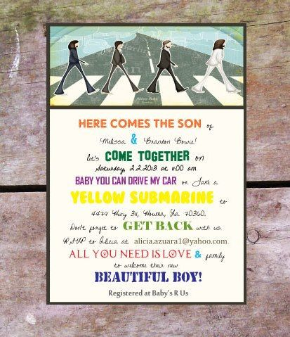 Custom beatles theme baby shower party printables baby boy beatles baby boy shower i had to design my own since the etsy seller stopboris Gallery