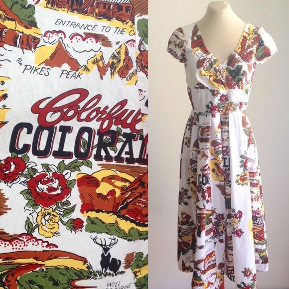 Vintage Dress with Colorado map/ tourist spots. 80s does 50s style Full skirt