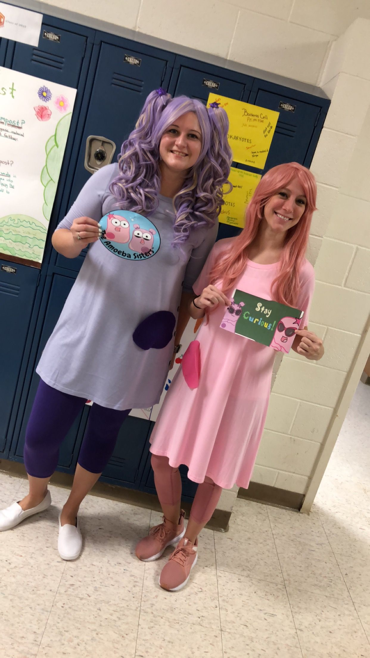 Character Day For Spirit Week Biology Teachers Dress Up As Amoeba Sisters Characterday Spiritweek Biology Amo Teacher Dresses Old Lady Costume Spirit Week