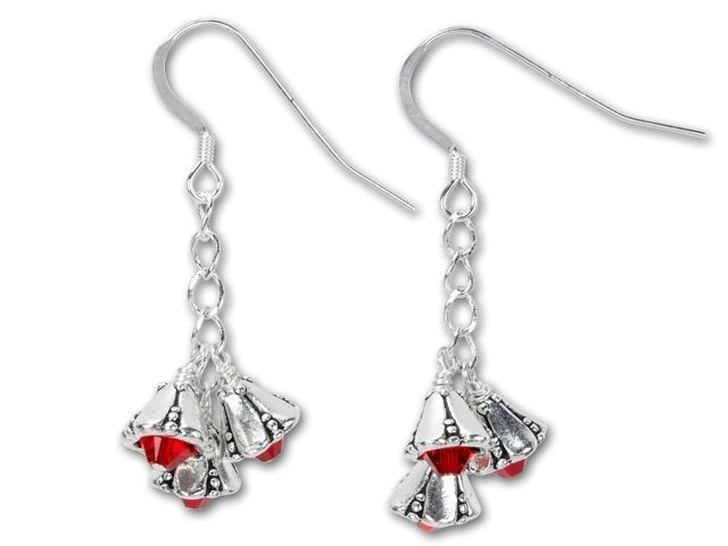 Christmas Earrings Red Cluster Earrings with Surgical Steel or Sterling Ear Wires
