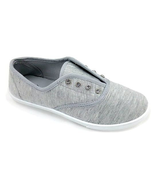 Ositos Shoes Light Gray Rhinestone Eyelet Slip-On Sneaker