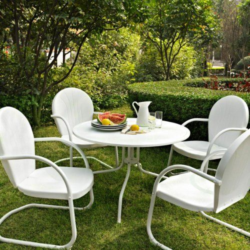 White Metal Tulip Chair Patio Set   For the Home   Pinterest   Tulip     White Metal Tulip Chair Patio Set
