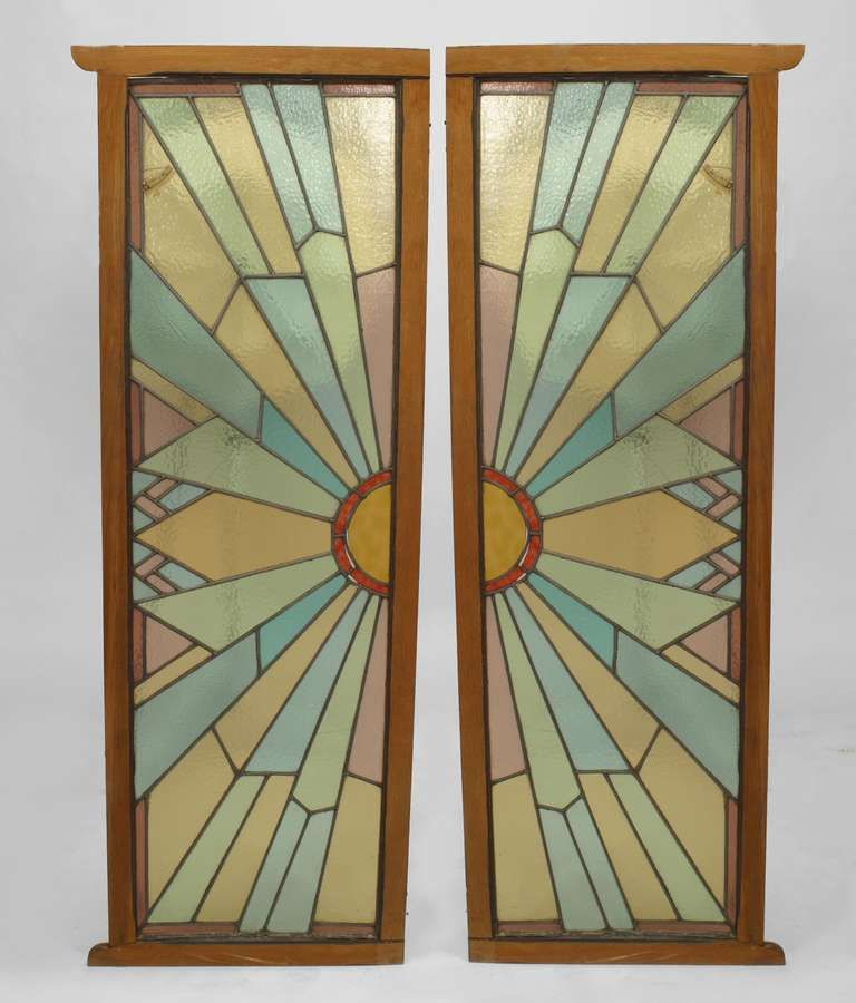 Pair of french art deco stained glass doors from a unique pair of french art deco stained glass doors from a unique collection of antique and sciox Images