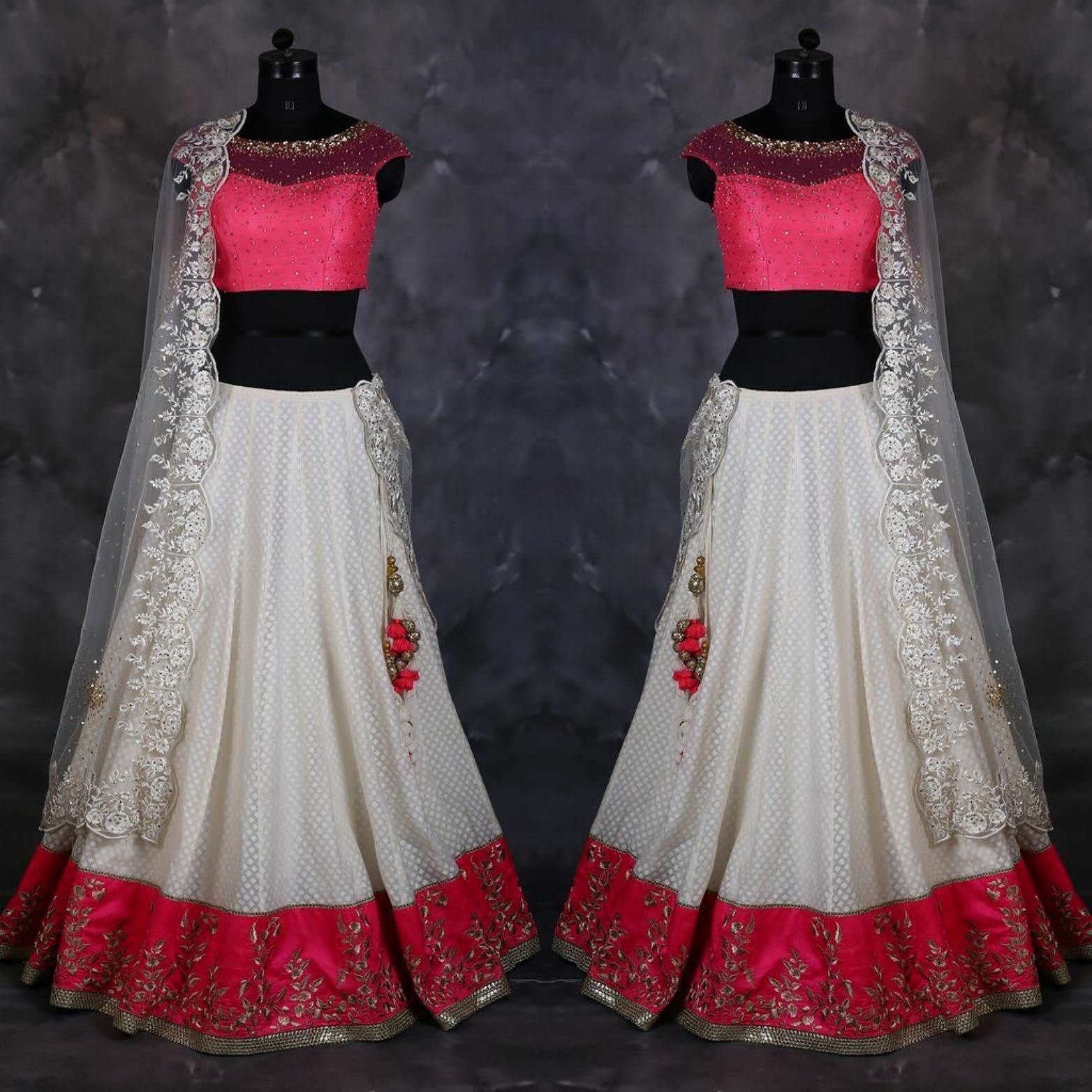 White and Pink Art Silk & Net Lehenga Product Info : LEHENGA: ART SILK BLOUSE : NET & BANGLORI SILK; DUPATTA:NET  Price : 1600 INR Only ! #Booknow  World Wide Shipping Available !  PayPal / WU Accepted  C O D Available In India ! Shipping Charges Extra  Stitching Service Available  To order / enquiry  Contact Us : 91 9054562754 ( WhatsApp Only )  #bridalwear #weddingdress #allthingsbridal #weddingtheme #punjabisuit #igers #indianwear #desicouture #photooftheday #style #trends #ootd…