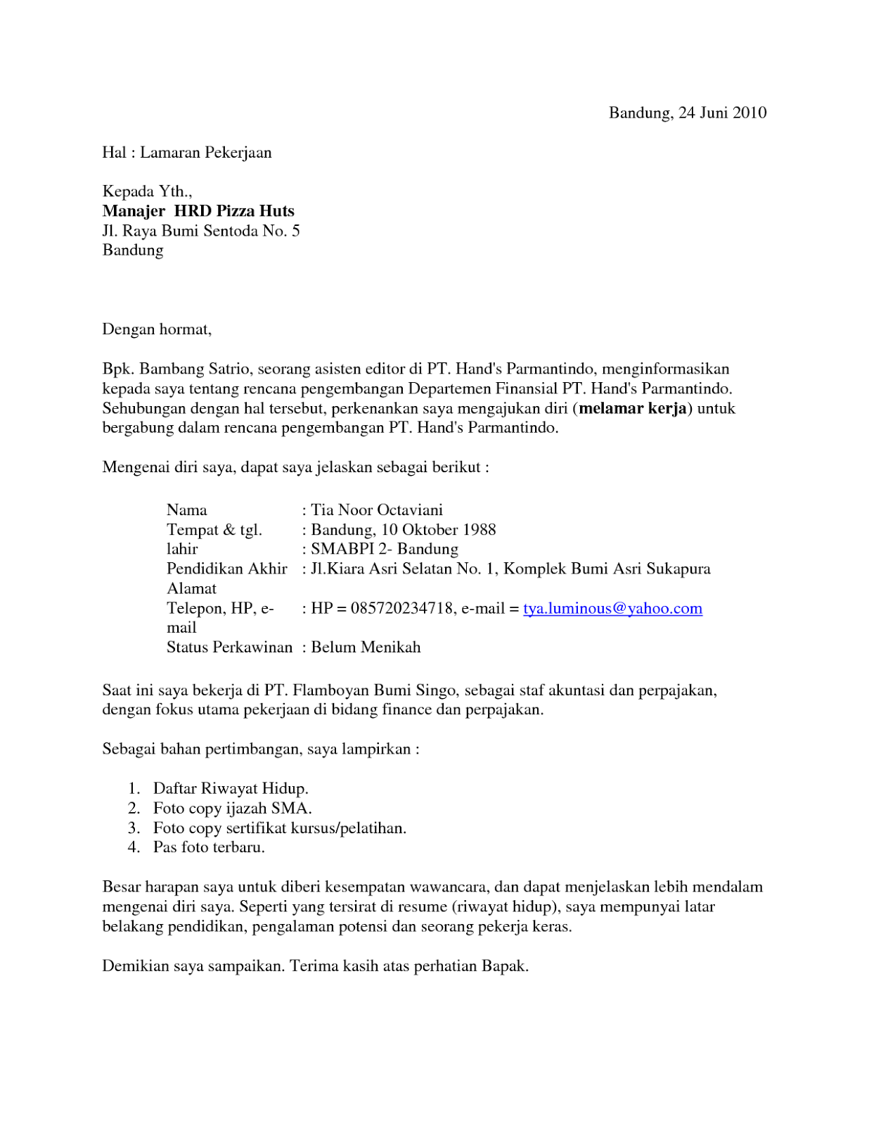 Contoh Surat Lamaran Kerja Penyiar Radio Dalam Bahasa Inggris