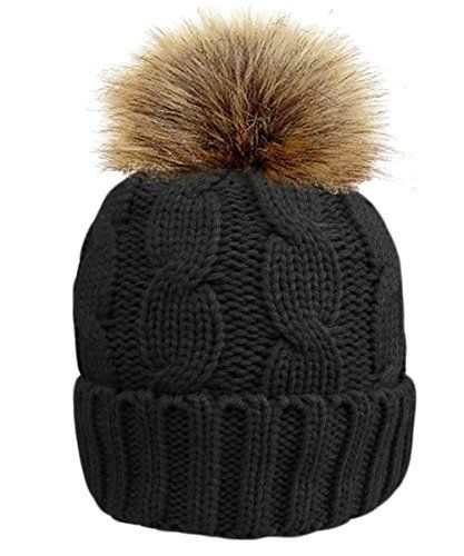 8acf75f34b8f TOSKATOK® Ladies chunky soft cable knit hat with cosy fleece liner and  detachable faux fur pompom-BLACK £4.99