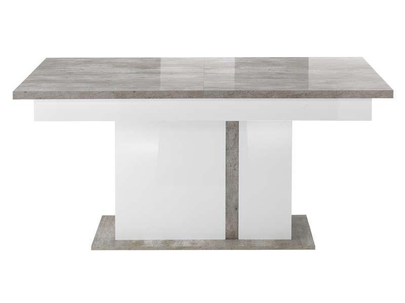 Table Avec Allonge Santana Coloris Blanc Et Gris Effet Beton Table