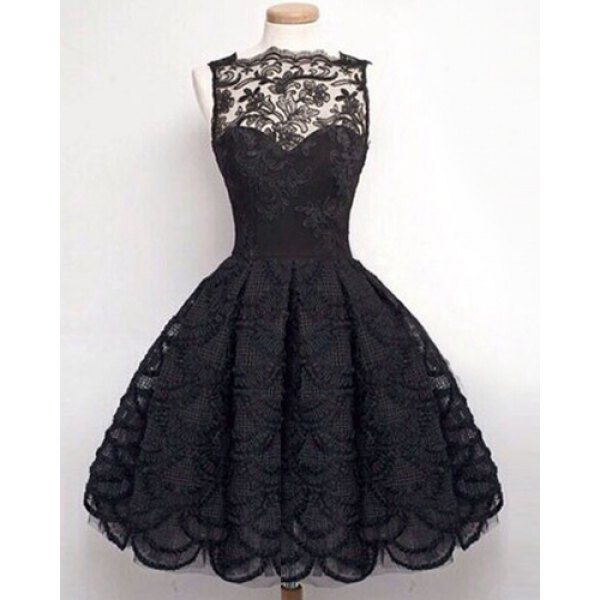 Midi Illusion Yoke Lace Party Short Prom Dress | Sleeve, Dress ...