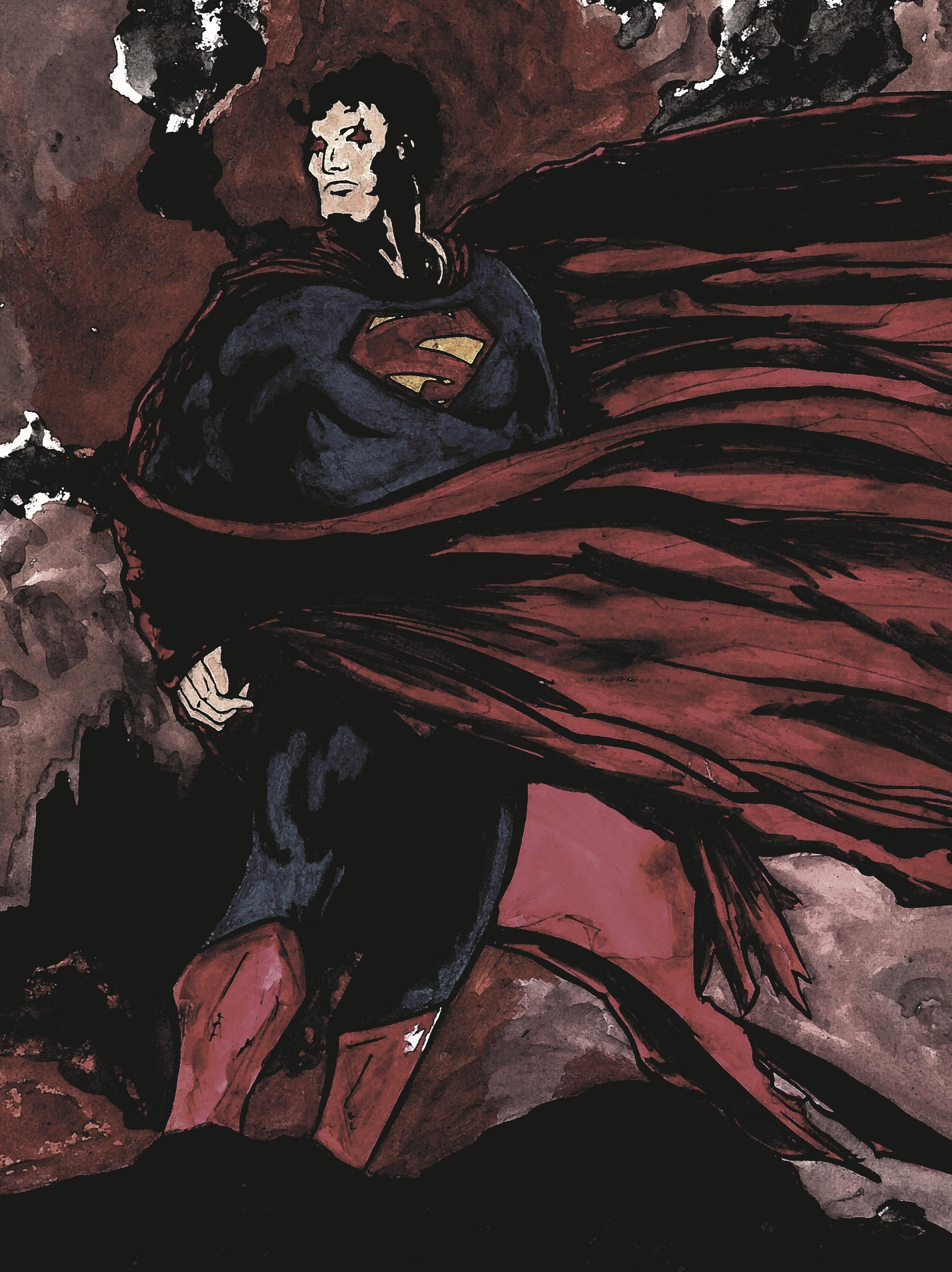 Last son of krypton acrylicindia ink water color  8 x 10 bristol
