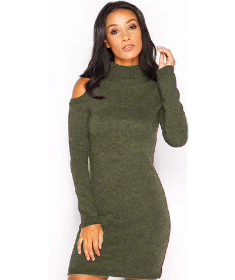 46d01decb2d High Neck Dew Shoulder Long Sleeve Short Bodycon Knit Dress ...