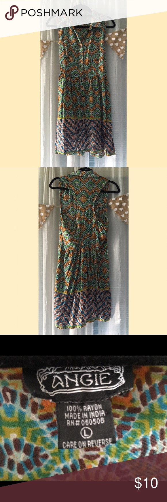 Button down collared dress In great condition! Comfy material Angie Dresses Midi