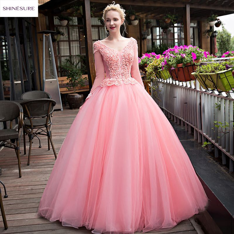 SHINESURE 2017 New Flowers Pink Lace Long Evening Dress Bride V Neck ...