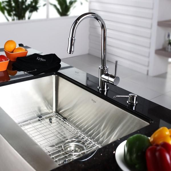 Elegant KRAUS 36 Inch Farmhouse Single Bowl Stainless Steel Kitchen Sink With Pull  Down Kitchen Faucet And
