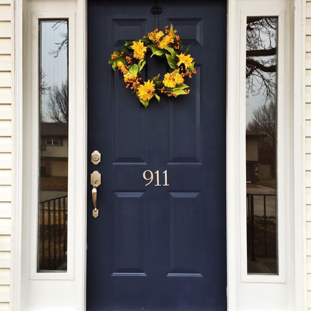navy blue front door yellow wreath rosebriar pinterest front doors blue front doors and doors. Black Bedroom Furniture Sets. Home Design Ideas
