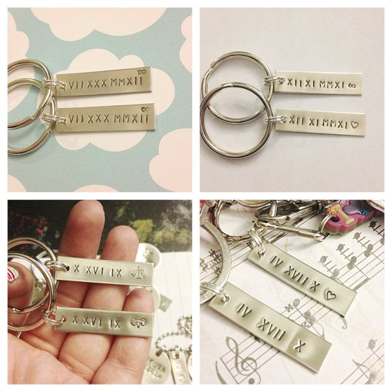 Couples Keychains CREATE Your OWN Roman Numeral by dalilicequeen