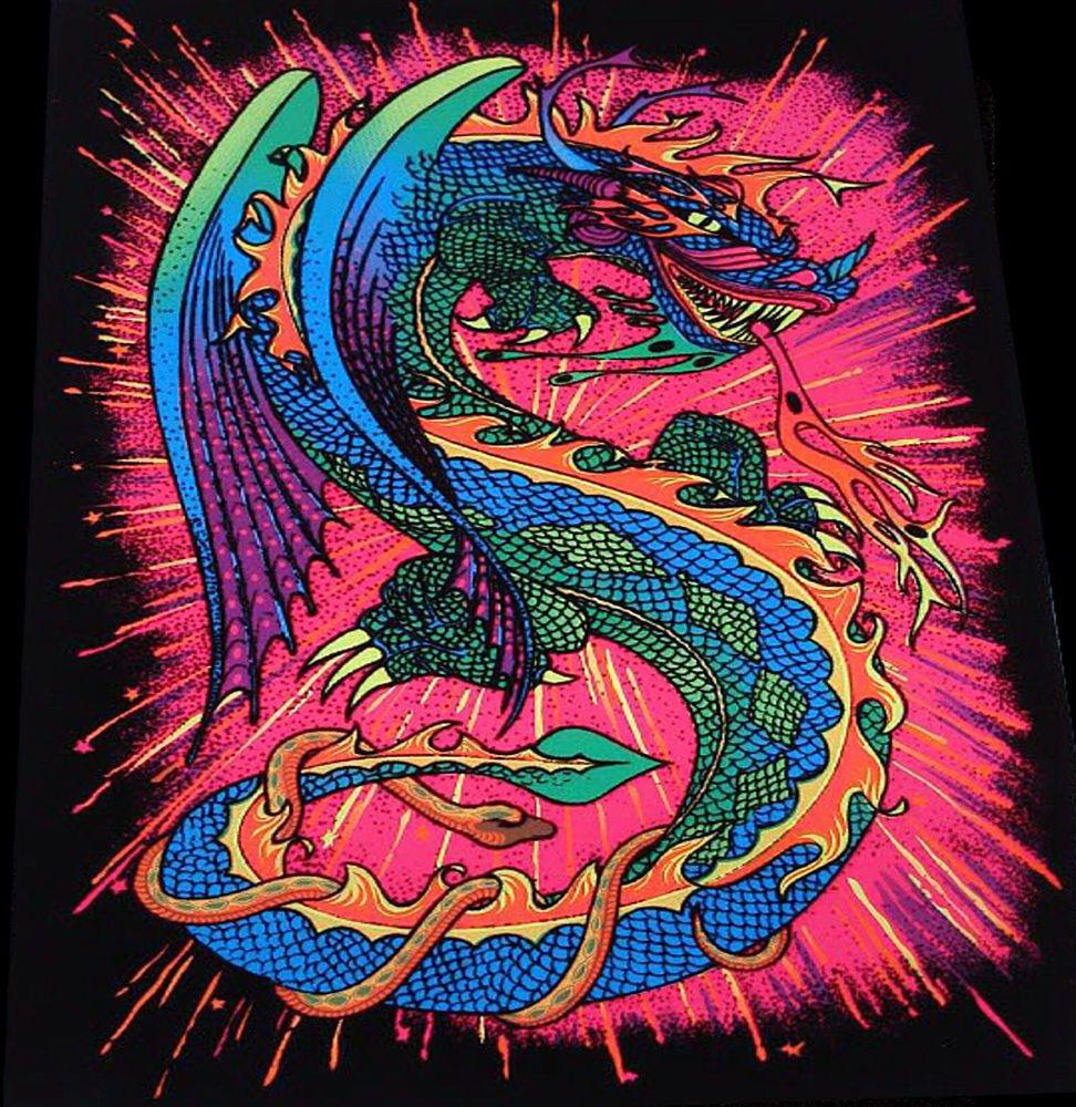 "1972 ""fire dragon"" snake vintage aa sales asian blacklight ..."