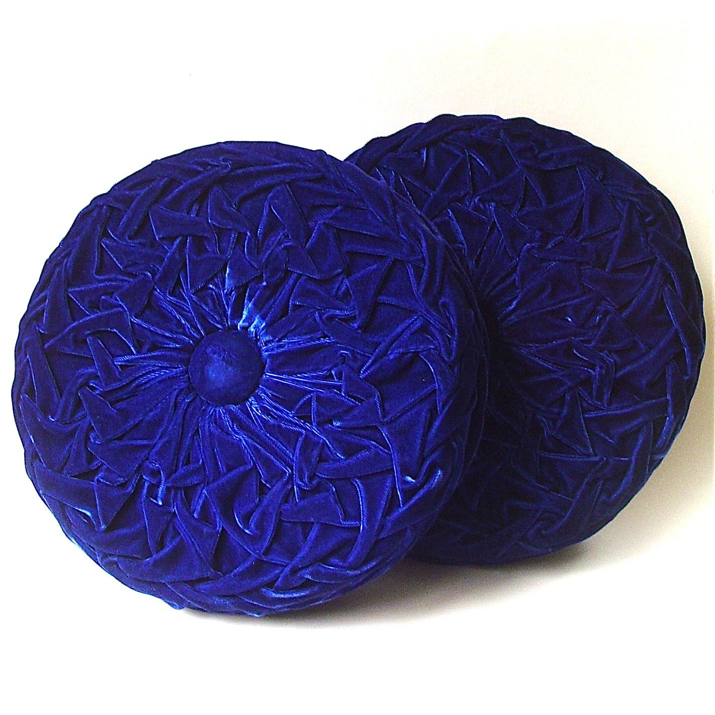 Vintage Round Royal Blue Velveteen Smocked Pillows In 2019