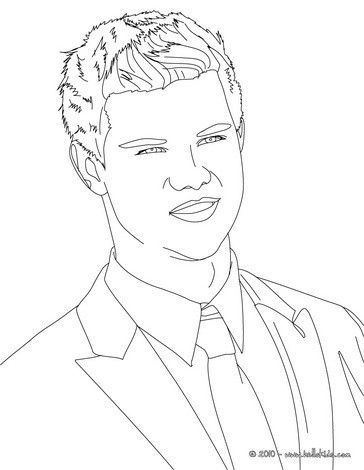 Taylor Lautner Smiling Close Up Coloring Page More Famous People