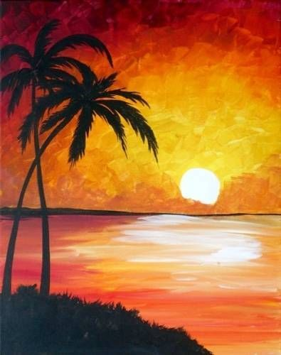 25+ best ideas about Wine and canvas on Pinterest | Sunset ... Easy Beach Sunset Paintings