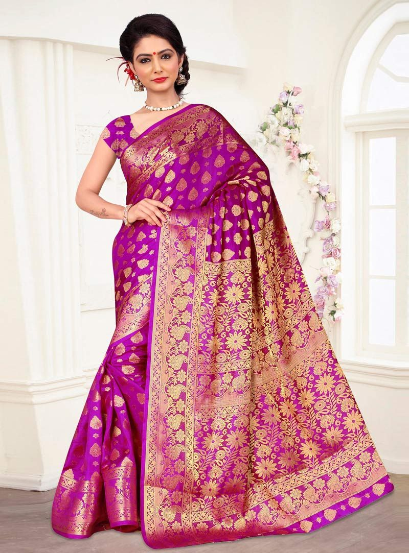 Purple Banarasi Silk Engagement Wear Saree 87483 | Things to Wear ...