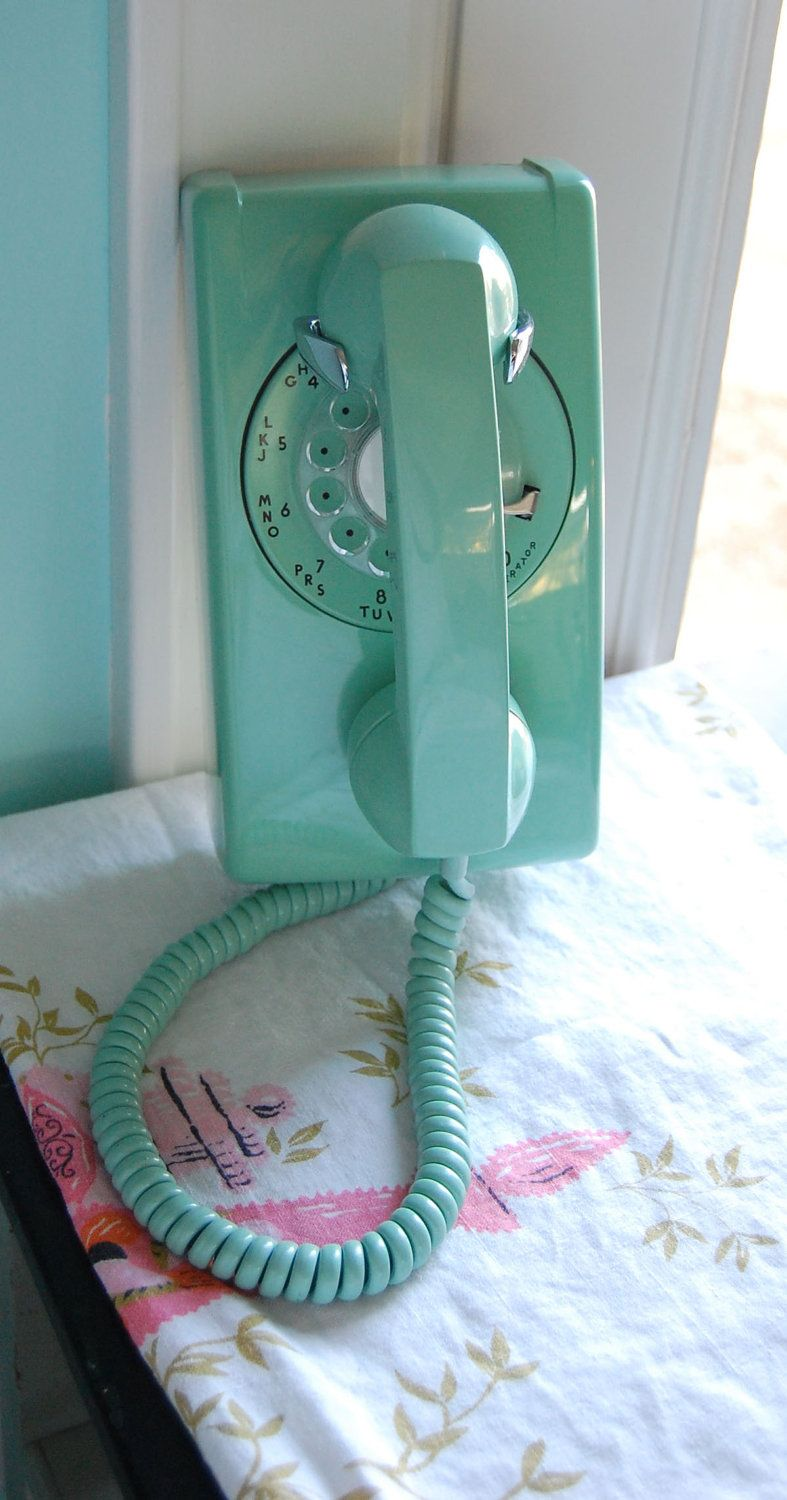 Retro Aqua Mint Green Rotary Wall Phone, Extraordinary Condition, Gorgeous, Just Like Draper's Kitchen, Only Aqua. $125.00, via Etsy. #wallphone