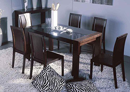 Bh Design Reflex Dining Table With Black Glass Top And Side Wenge