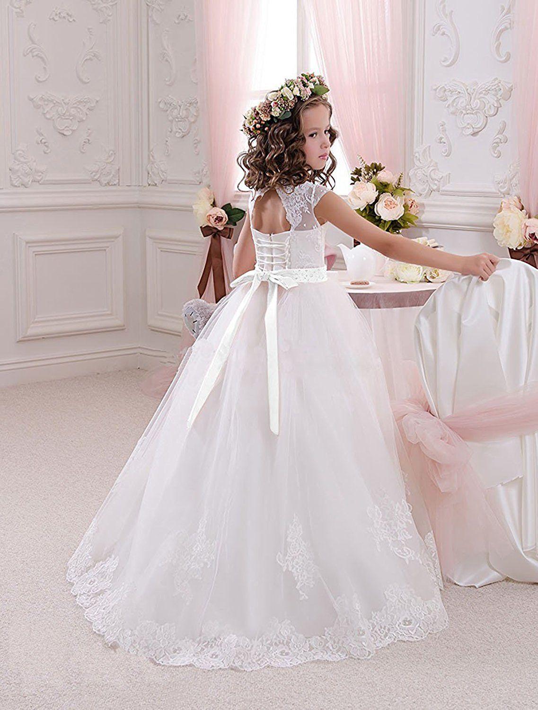 613b3bc7eb Amazon.com  Helen Lace Flower Girls Dresses for Wedding Princess Baptism  Dress072  Clothing
