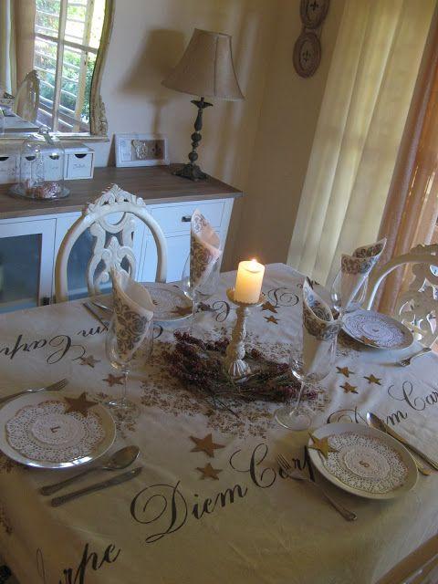 Mesa navide a con mantel pintado con stencils trabajos manualidades y bricolaje pinterest - Manualidades y bricolaje ...