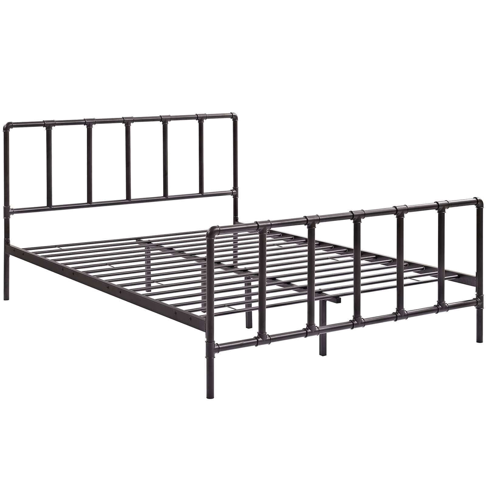 Dower Brown Industrial Pipe And Socket Platform Bed