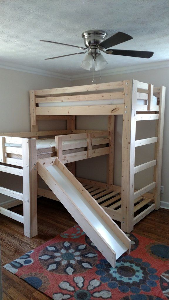 Sydney L Shaped Custom Triple Bunk Bed With Slide Small Home Living Bunk Beds Triple Bunk Beds Bunk Bed With Slide