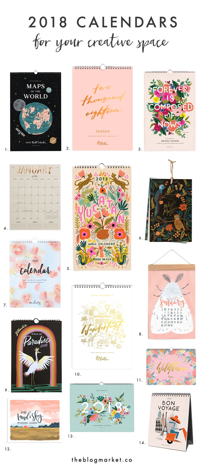 Best 2018 Calendars for your Creative Space | Creative, Spaces and