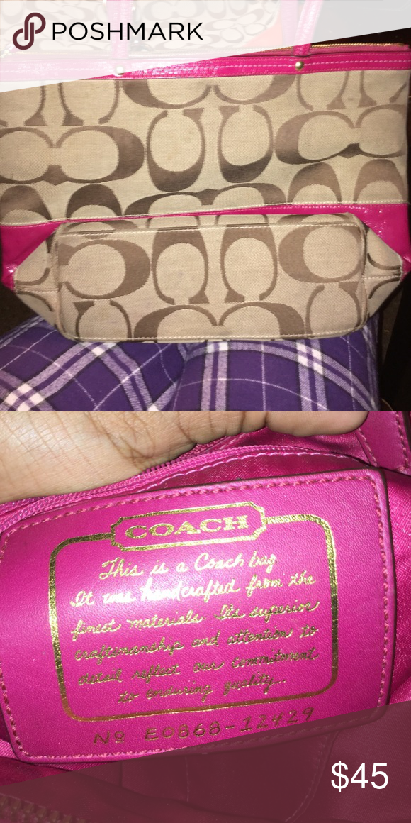 Coach bag Good condition got pink and tan couch bag Coach Bags Shoulder Bags
