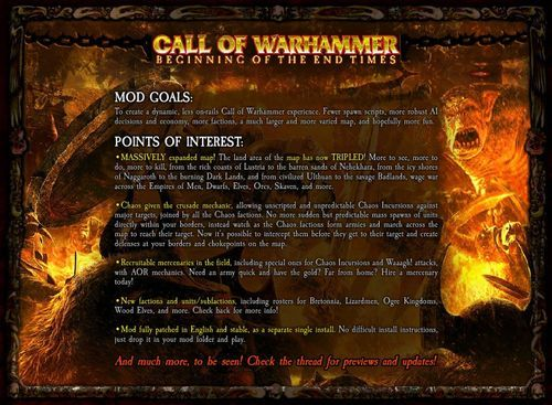 Call of Warhammer Beginning of The End Times Mod for Medieval II