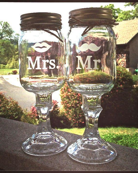 2 Mr. Mrs. Redneck Wine Glass Mr And Mrs Set