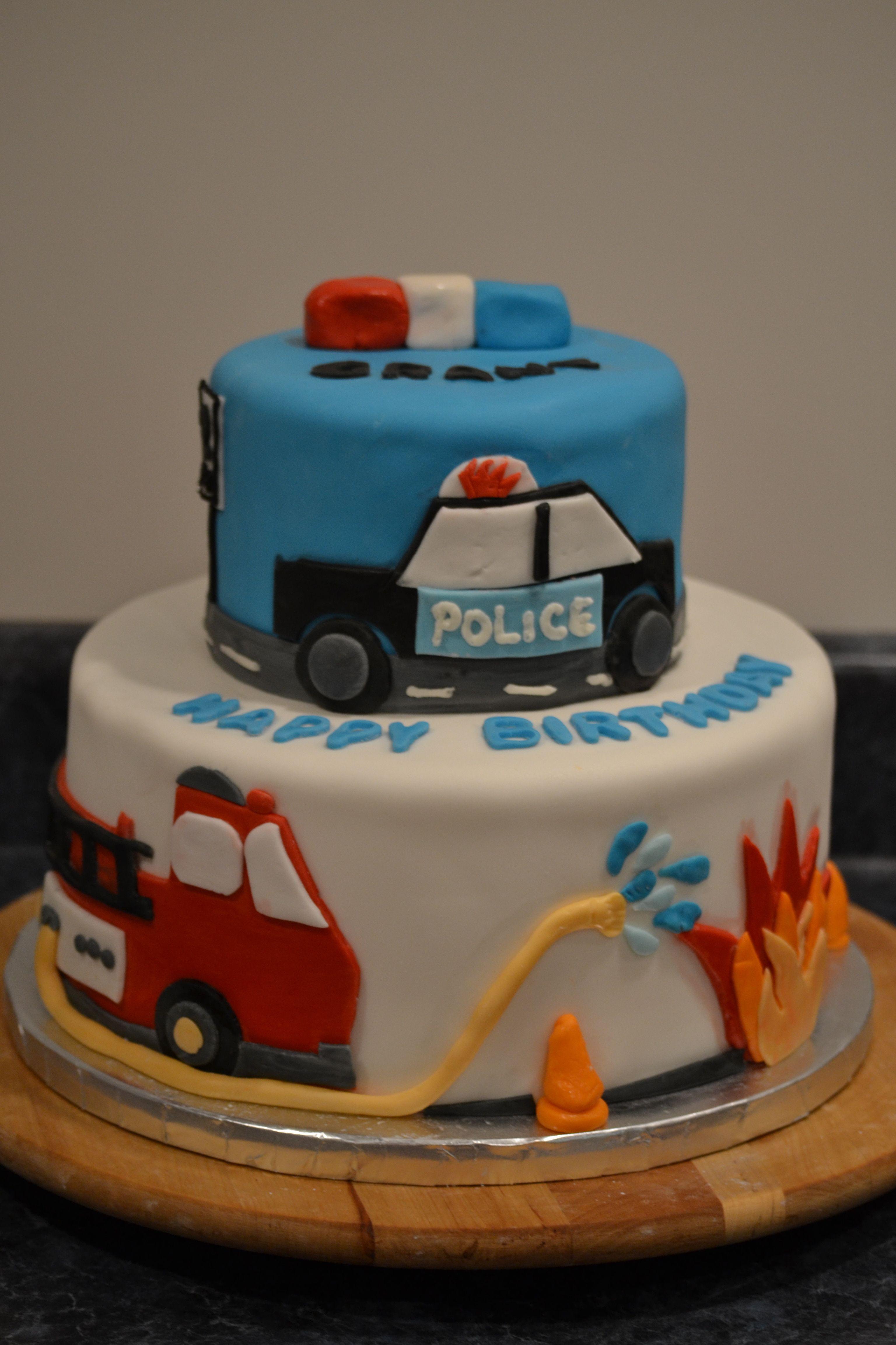 Fire police car cake cakes by suzanne modlowski