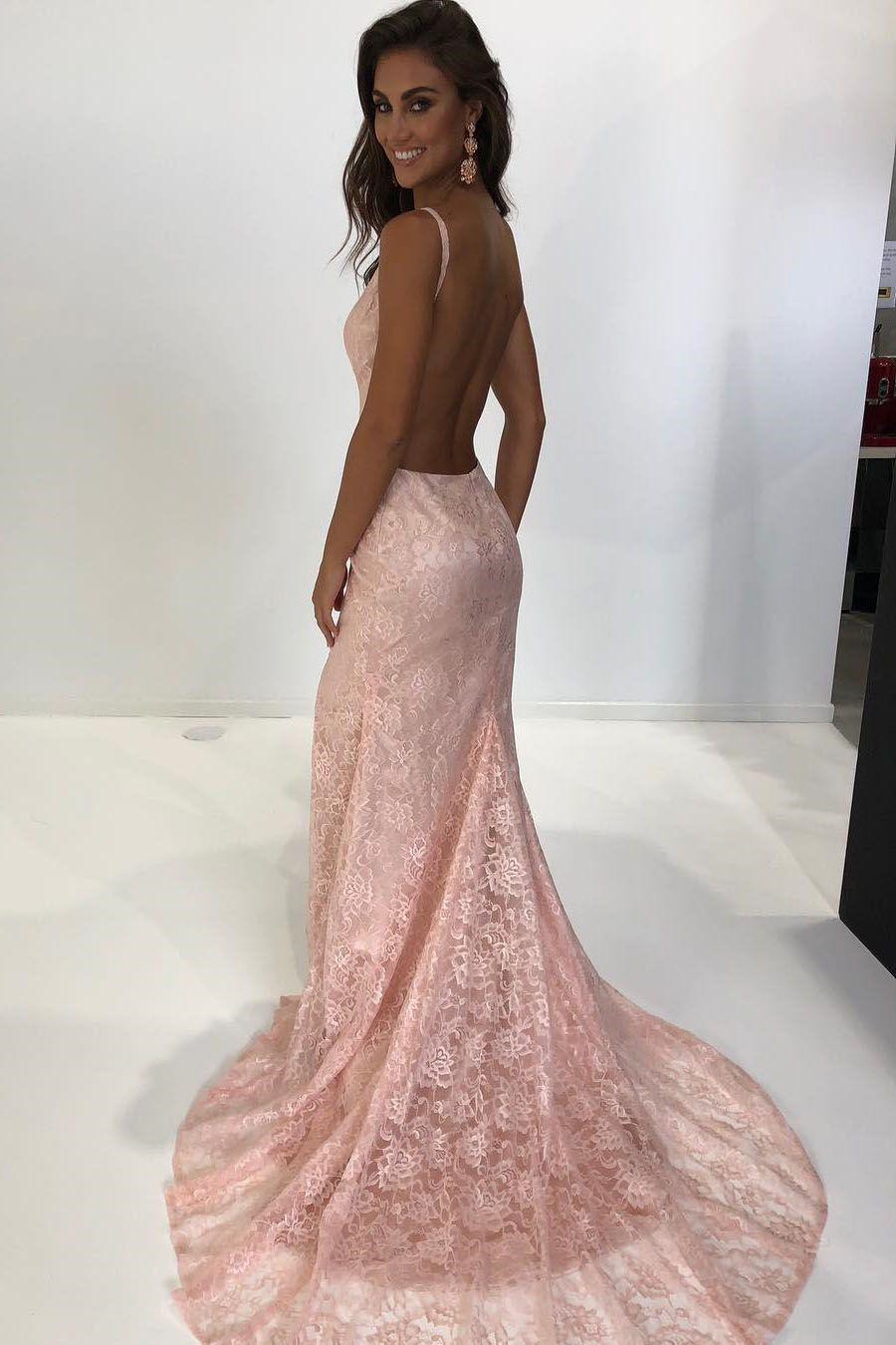 Elegant straps mermaid pink lace long prom dress with backless