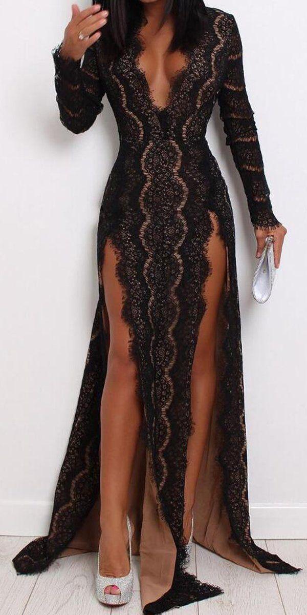 Sexy Black Lace Long Sleeves V Neck Splits Long Evening Prom Dresses, WP020