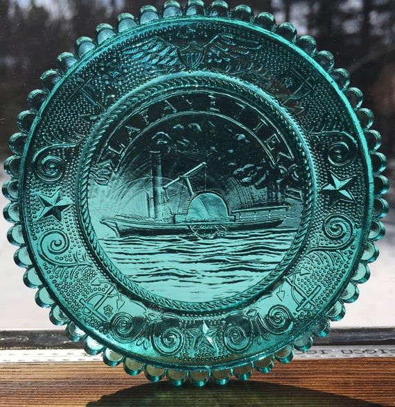 The Lafayette Paddle Wheel Steamer Pairpoint Glass Cup Plate 44 Historical Society Sandwich Glass Museum Cape Cod MA Crystal Nautical Decor #pictureplacemeant
