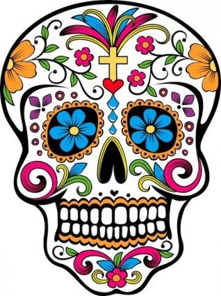 Day Of The Dead Skull Free Vector For Free Download About 2 Files Clipart Best Clipart Best Sugar Skull Tattoos Skull Art Skull