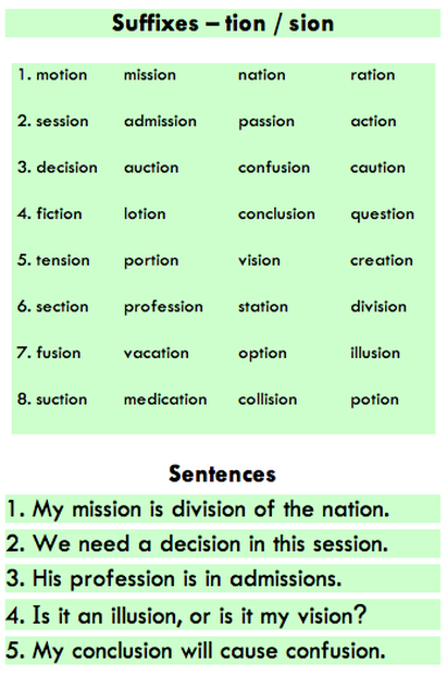 Suffixes -tion and -sion | Learn english grammar, English ...