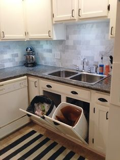 ingenious home recycling bin ideas. Big Plans  Little Budget Tip Out Trash and Recycling Center IDEA trash cans on the island doors appliances in back new