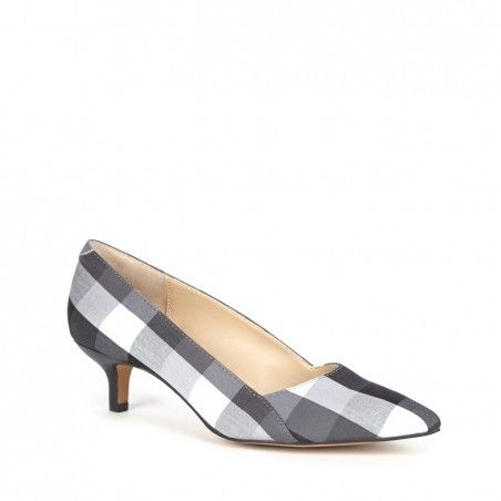 Black & white gingham kitten heel pump with pointed toe