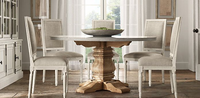 Salvaged Wood Weathered Concrete Trestle Round Table