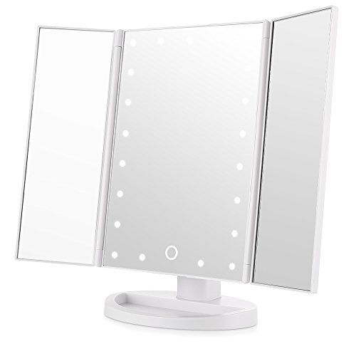 Tri Fold Vanity Mirror With Lights Easehold Trifold Lighted Vanity Mirror Three Panel 21Pcshttps