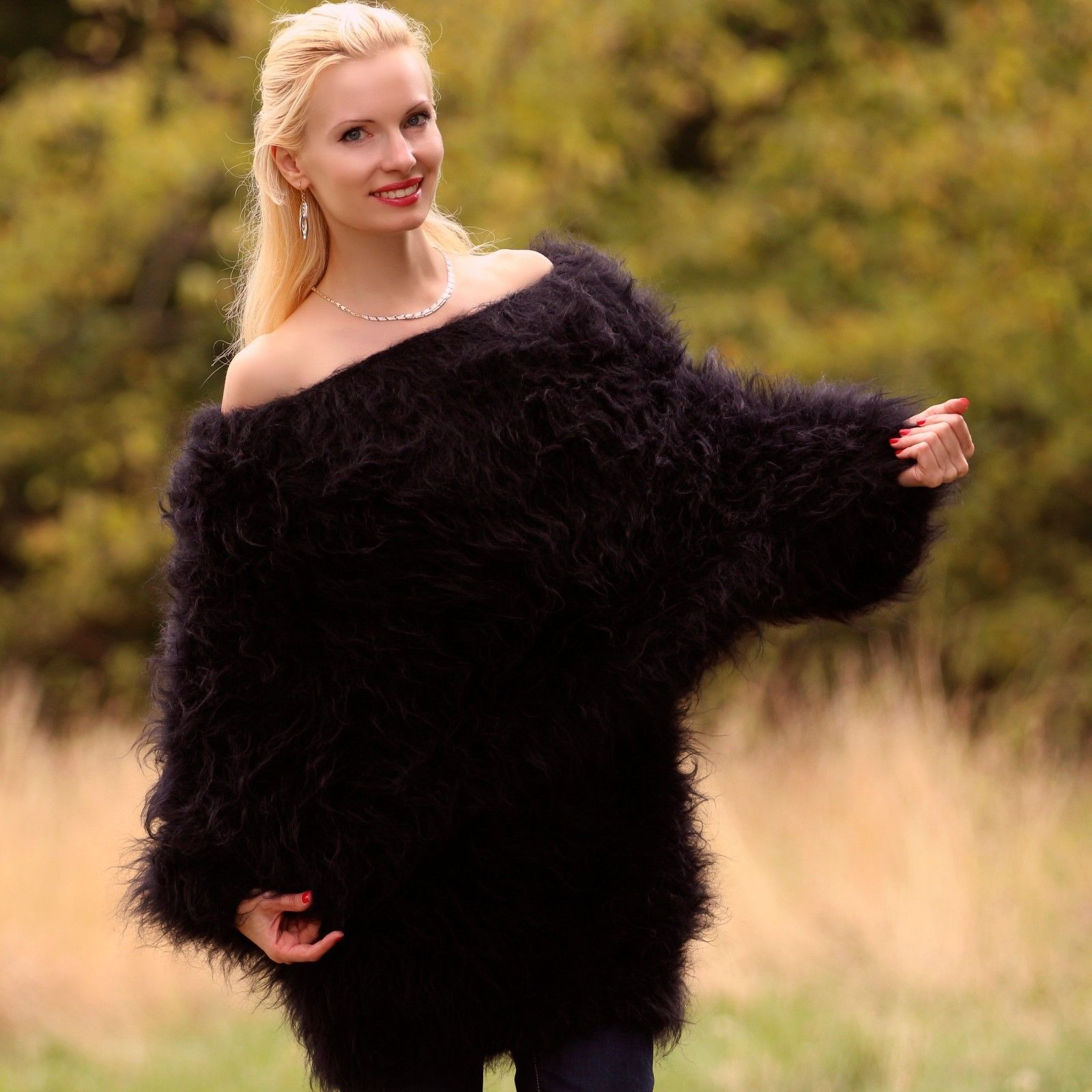 SUPERTANYA BLACK Hand Knitted Sweater Dress Fuzzy Long Cowlneck ...