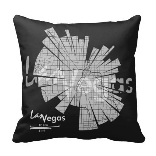 Las Vegas City, monochrome map illustration by Shirt Urbanization on a throw pillow. Available at Zazzle www.zazzle.com/shirturbanization/pillows?cg=196976724834671701