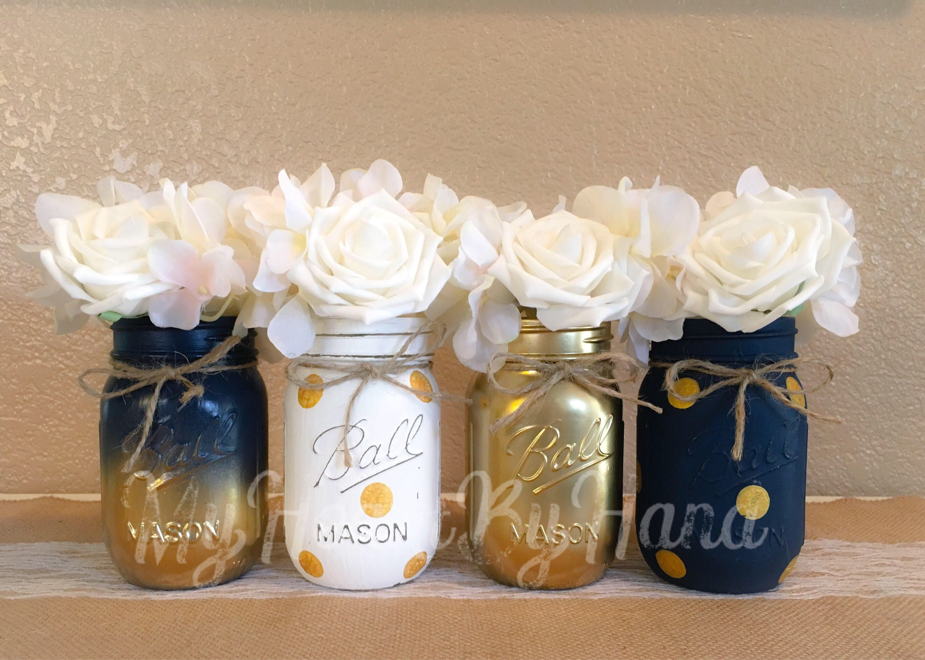 Nautical baby shower centerpiece navy blue and gold mason jars