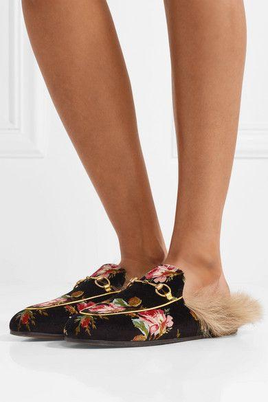 1d47337b6b8 Gucci - Princetown Horsebit-detailed Shearling-lined Floral-print Velvet  Slippers - Black